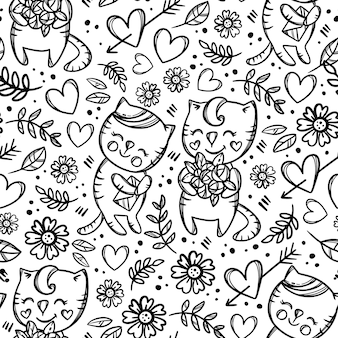 Cat gives bouquet monochrome roses to his girlfriend who holds letter and smiles. valentine day cartoon hand drawn seamless pattern