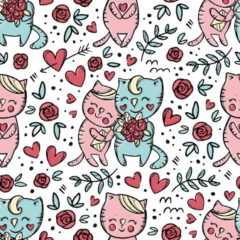 猫は手紙と笑顔を持っている彼のガールフレンドに花束を贈ります。バレンタインデー漫画手描きカラフルなシームレスパターン