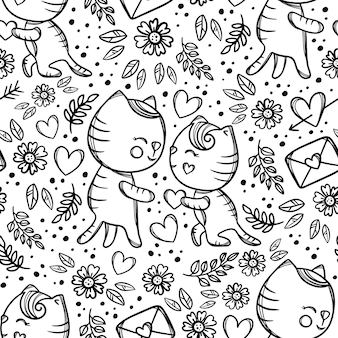 Cat gives heart to sweetheart standing knee and makes marriage proposal enamored. hand drawn monochrome cartoon seamless pattern