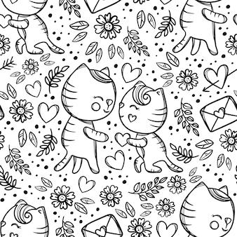 Кошка дарит сердце любимой, стоя на коленях, и делает предложение руки и сердца влюбленным. рука нарисованные монохромный мультфильм бесшовный фон