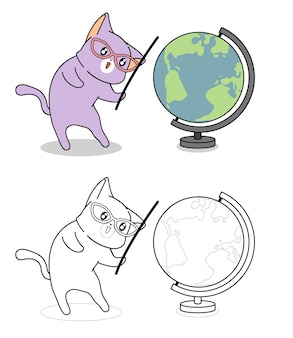 Cat and globe cartoon coloring page