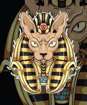 エジプト神話のキャラクターデザインの猫神