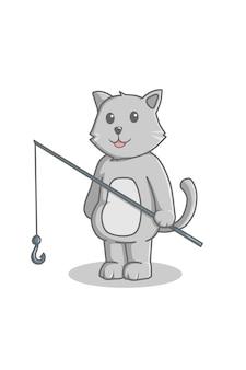 고양이 낚시 만화 그림 간다