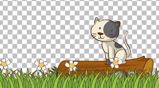 Cat on the grass field on transparent background