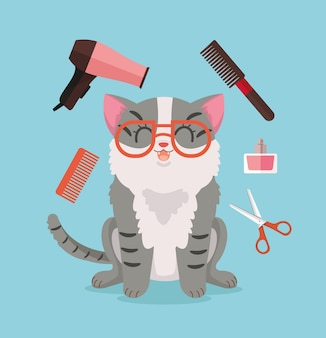 Cat grooming happy cat character illustration