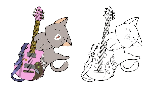 Cat and guitar cartoon coloring page
