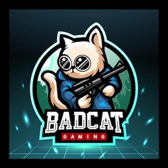 고양이 사수 마스코트 esport 로고 디자인
