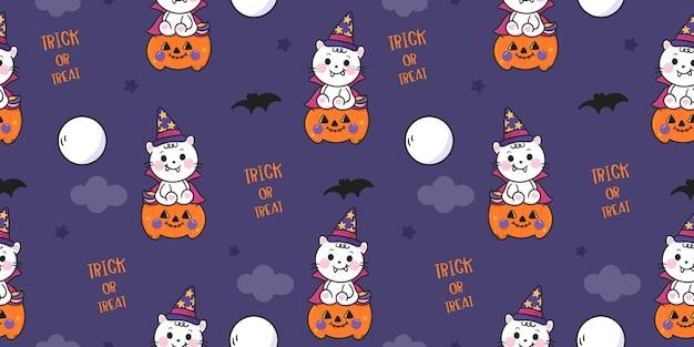 Cat halloween seamless pattern trick or treat kawaii animal