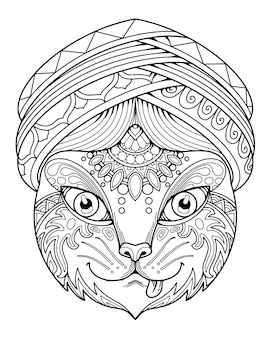 Cat head decorative mandala design. coloring page