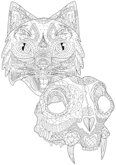 Cat head facing front and dead feline skull with fangs colorless line drawing large kitten heads
