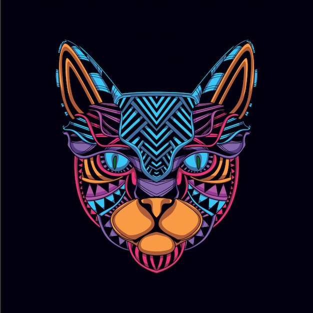 Cat head from decorative glow neon color