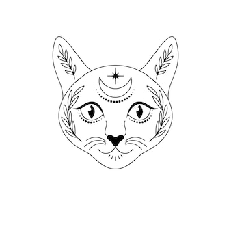 흰색 바탕에 초승달과 식물이 있는 라인 아트 스타일의 고양이 머리. 아이들을 위한 임시 문신.