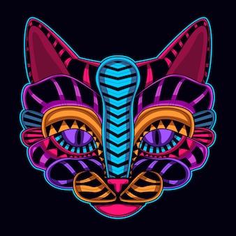 Кошачья голова в неоновом цвете