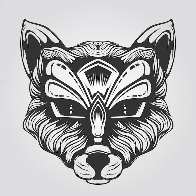Cat head line art