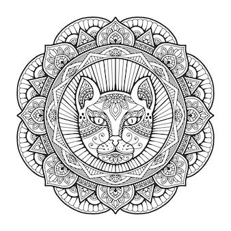 猫の頭のマンダラの塗り絵。