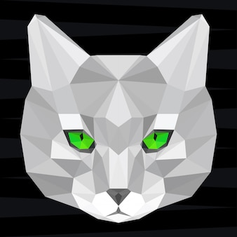 Cat head. nature and animals life theme background. abstract geometric polygonal triangle cat pattern for design t-shirt, card, invitation, poster, banner, placard, billboard cover