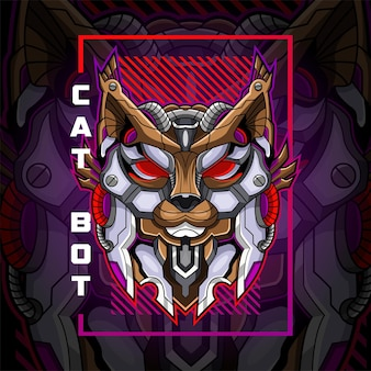 Логотип талисмана робота-кошки