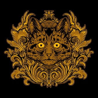 Cat head with golden engraving ornament