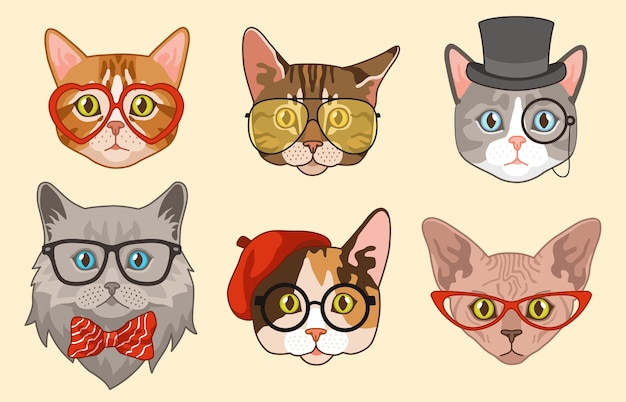 Cat heads. cute funny cats avatar muzzles with accessories, glasses and hats, bow tie. happy hipster pets  drawing modern animal  characters