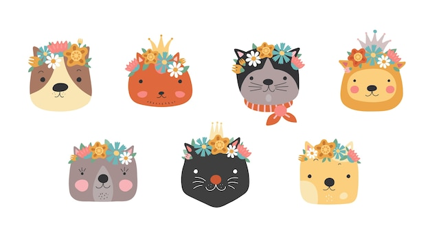 Cat heads with flower crown. cute cats in floral wreath and princess crown. funny kitties for birthday greeting card.