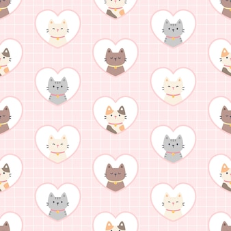 Cat in a heart frame seamless  repeating pattern, wallpaper background, cute seamless pattern background