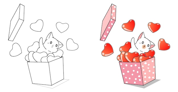 Cat and hearts in the box for valentine day cartoon coloring page for kids