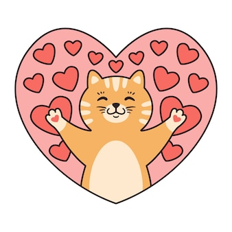 Cat in hearts. greeting cards for valentines day, birthday, mothers day.