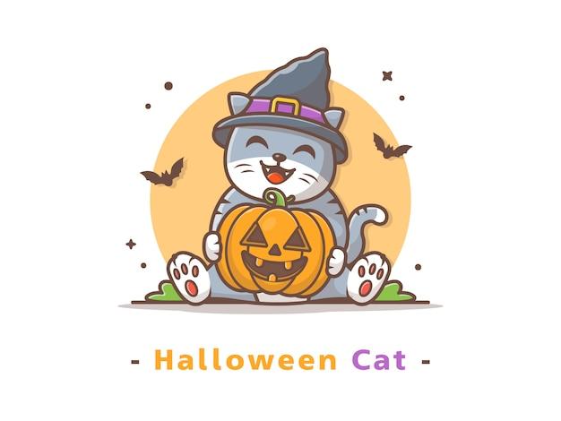 Cat holding halloween pumpkin