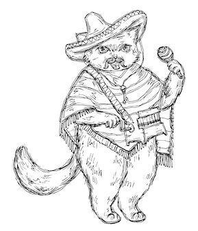 Cat holding a maraca and dressed in the poncho, sombrero. vintage vector black engraving illustration. isolated on white background. hand drawn design element for poster