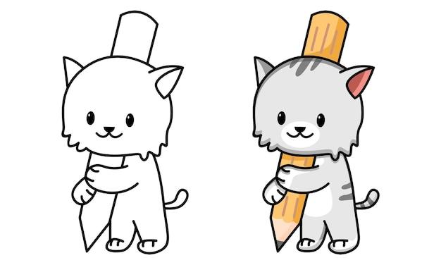 Раскраска кошка держит карандаш