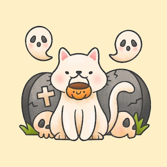 Cat holding pumpkin basket with ghosts in front of tombstones and skulls