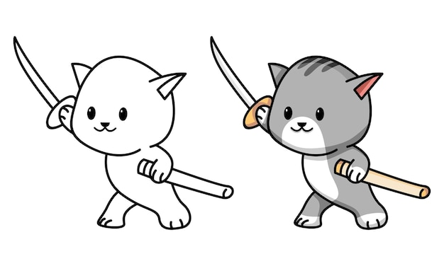 Cat holding sword coloring page for kids