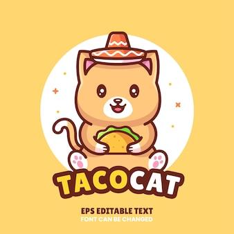 Кошка держит тако логотип вектор значок иллюстрации премиум фаст-фуд логотип в плоском стиле для ресторана