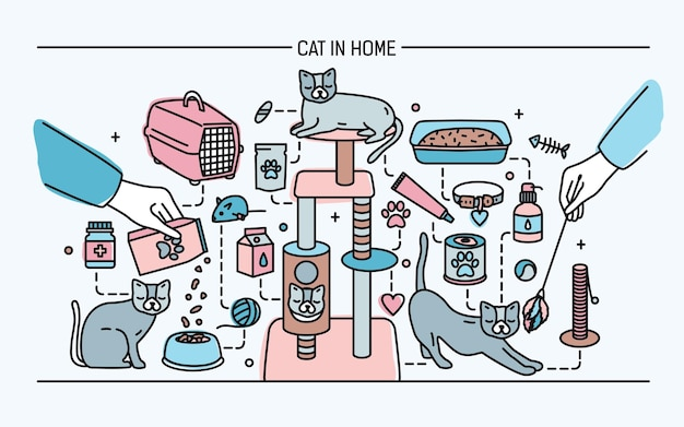 Cat in home horizontal banner with pet toys, meds and kitty meals. horizontal colorful line art vector illustration.