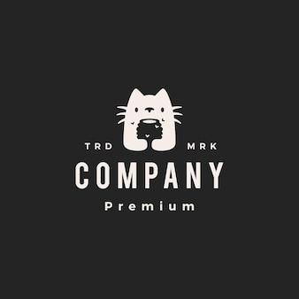 Кошка мед улей битник старинный логотип вектор значок иллюстрации