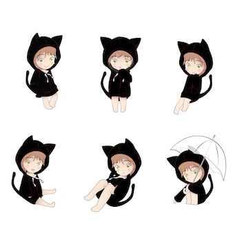 Cat hood cute cartoon character in actions