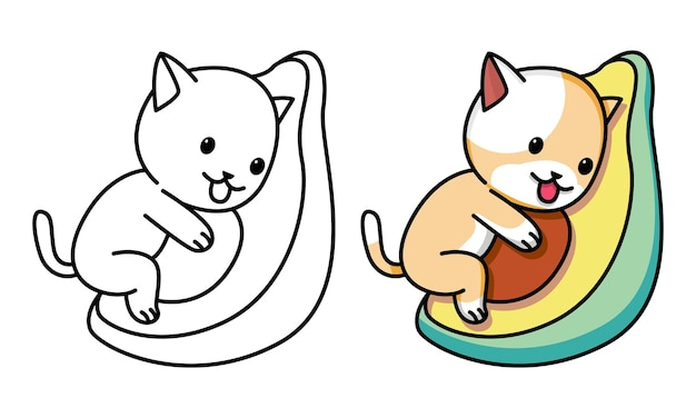 Cat hug avocado coloring page for kids