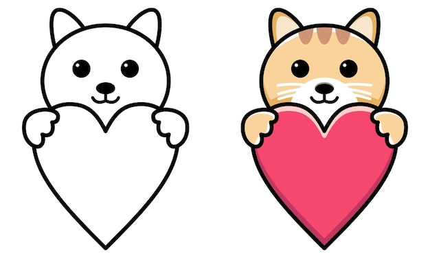 Cat hug red heart coloring page for kids