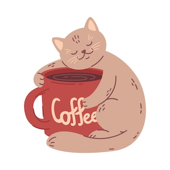 Cat hugs a big coffee cup.  illustration for coffee house