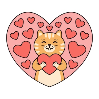 Cat hugs a heart. greeting cards for valentines day, birthday, mothers day.