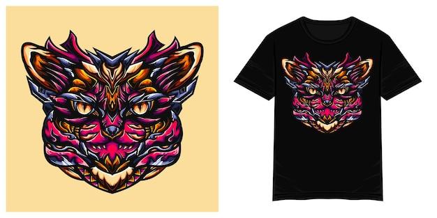 猫ハンターモンスターベクトルtシャツイラスト