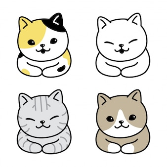 Cat icon kitten calico cartoon