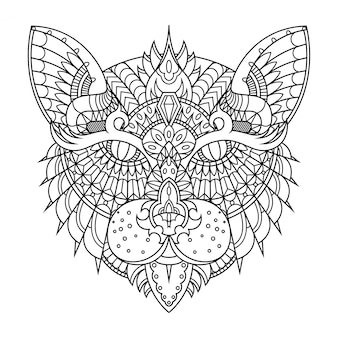 Cat illustration, mandala zentangle in lineal style coloring book