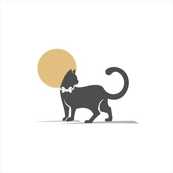 나비 넥타이와 고양이 그림 실루엣 동물 애완 동물 벡터