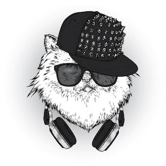 Кот в стильной кепке и очках