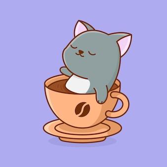 Кот в кофейной ванне мультфильм