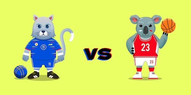 サッカーの猫vsバスケットボールのコアラ