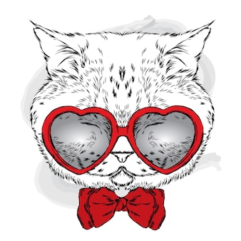 ハートのメガネの猫