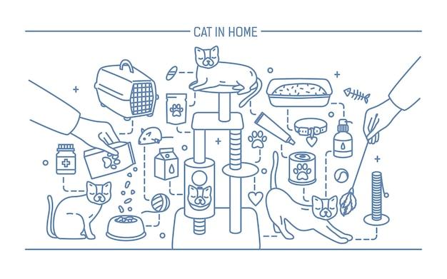 애완 동물 장난감, 약 및 키티 식사와 함께 홈 컨투어 배너에 고양이. 수평 개요 라인 아트 그림입니다.