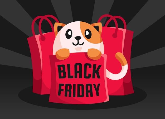 ショッピングバッグの猫ブラックフライデー
